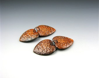 Enameled Etched Hearts /  Autumn Enamel / Made to Order