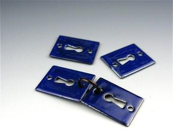 Enameled Key Hole / Cobalt Enamel / Made to order