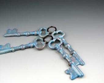 Enameled Keys / Aqua enamel  / Made to order