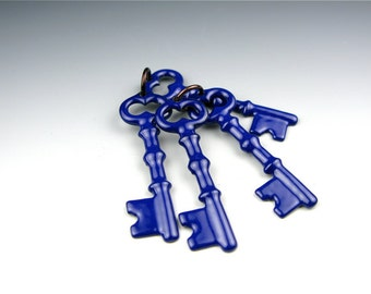 Enameled Keys/ Cobalt enamel  / Made to order