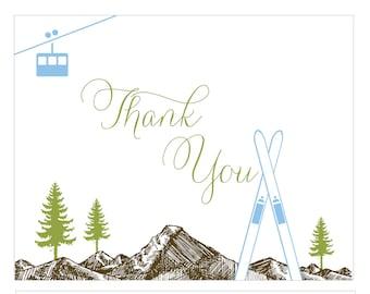 Thank You Postcards Mountain Skis and Gondola 10 pack