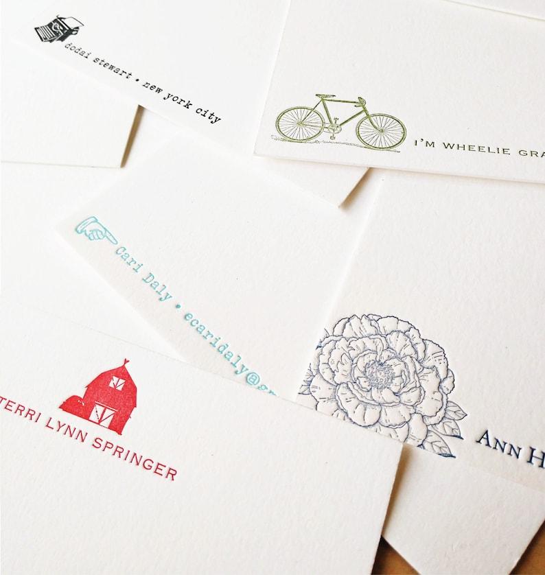 Personalized Letterpress Social Stationery Set  Choose Design image 1