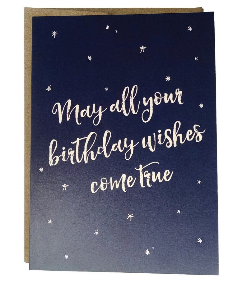 May All Your Birthday Wishes Come True Birthday Card Etsy
