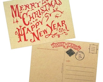 Vintage Style Merry Christmas & Happy New Year Postcards - Pack of 10