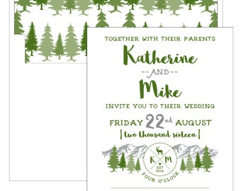 Mountain Camp Wedding Invitation - Collection options available