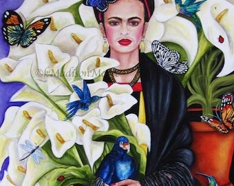Frida Kahlo print, Frida Kahlo art, Floral wall art, Home decor, Cala Lilies Floral  print