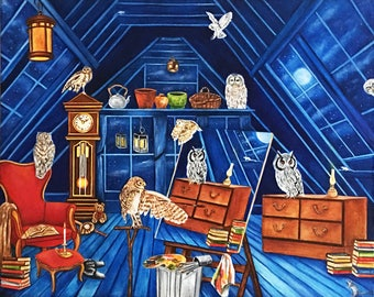 Owls, Owls Painting, Owl Art, Animal Art, Birds, Interior, Furniture