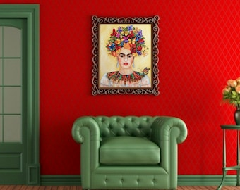 Frida Kahlo Portrait, Frida Kahlo Oil Painting, Large Painting, Home Decor Wall Art,Picasso Earrings