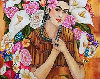 Prints, Frida Kahlo, Frida Kahlo Art Print, Frida Kahlo Portrait, Frida Kahlo Inspired Art work