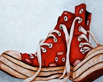 Art Print, Sneakers Print, Sports, Tennis Shoes Print, Red Sneakers Print, Sneakers