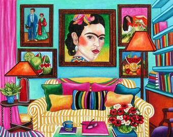 Frida Kahlo art print, Mexican art, Wall art print, Interior, Mexican decor