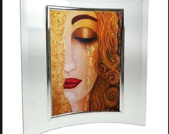 Art Print, Curved Glass Frame, Small Print, Miniature Print, Original Art, Klimt