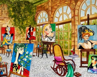 Picasso Print, Rocking Chair, French Veranda, Picasso Paintings, Wall art  print, Picasso's Studio France