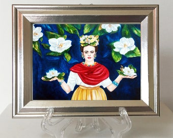 Frida Kahlo, Frida Kahlo Print,  Frida Kahlo Framed Art, Magnolia Flowers, Acrylic Easel