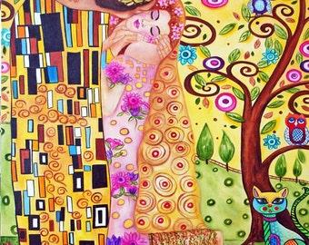Klimt Print, Gustav Klimt Art Print,  Print, Klimt Print, Klimt, Klimt The Kiss, Wall Art Print