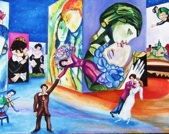 Oil Painting, Chagall Painting, Marc Chagall, Chagall Artwork, Orignal Painting, Lovers