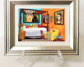 Frida Kahlo Print, Frida Kahlo Framed  Print, Miniature Framed Print, Mexican Art, Mexican print