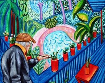 David Hockney print, Art prints, Garden art print,  Garden Decor,  portrait