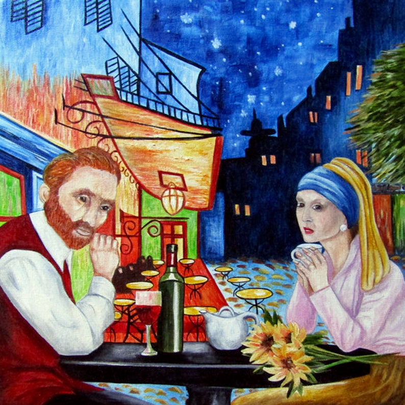 Van Gogh Painting Vincent Van Gogh Original Oil Painting Cafe Terrace At Night Starry Night