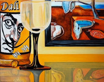 Wine Print, Wine Art Print, Wall Art, Wine Art, Wine Poster, Salvador Dali Print, Kitchen Art