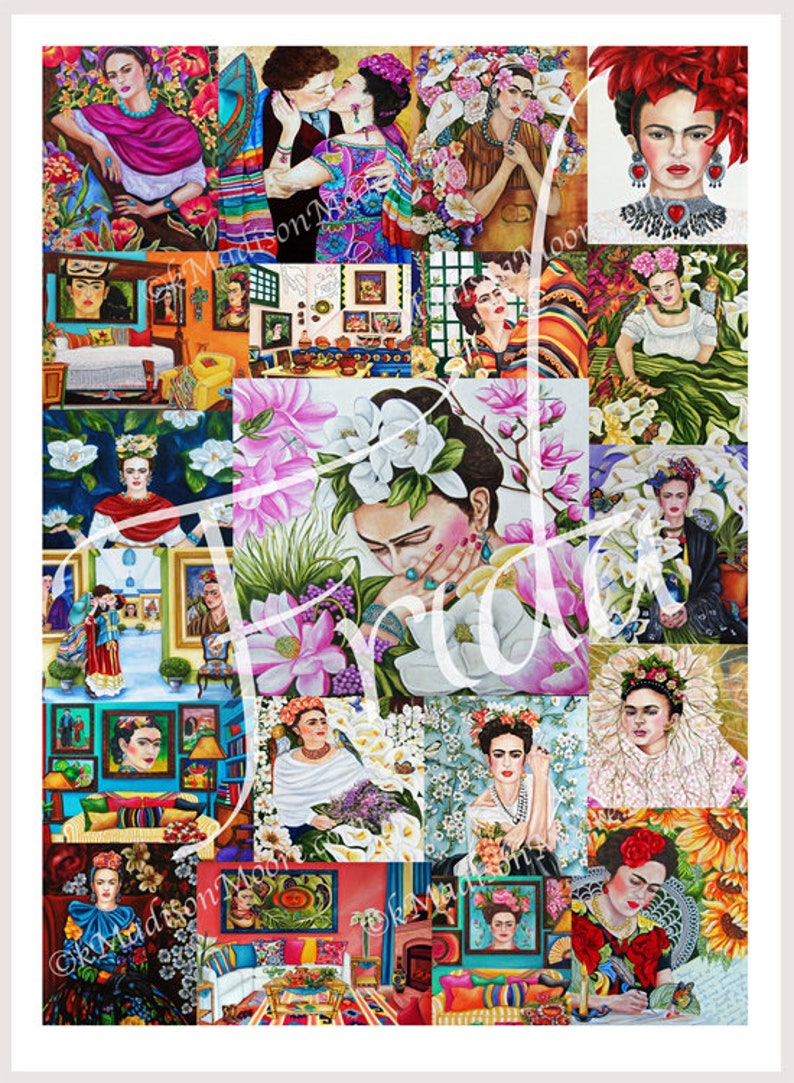 Frida Kahlo poster Frida Kahlo art Frida Kahlo large collage image 0