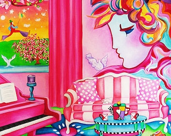 Art Print, Peter Max Pop Art,  Pink Living room Interior, Print, Peter Max Poster