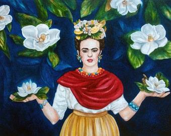 Frida Kahlo, Art Print, Frida Kahlo Art, Mexican Folk Art, Magnolias, Mexican Home Decor