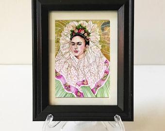Frida Kahlo Framed Art, Portrait Frida Kahlo, Diego Rivera, Small Framed Print, Small Gift