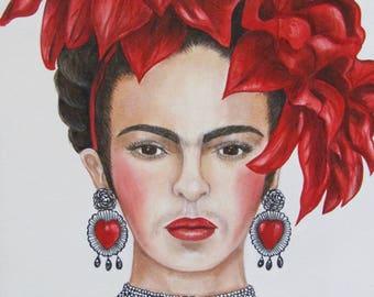 Print, Frida Kahlo Art Print, Frida Kahlo Portrait, Frida Kahlo Earrings, Frida Kahlo Hearts
