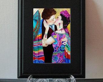 Frida Kahlo Print, Frida Kahlo Art Print, Small Framed Print, Diego Rivera Print