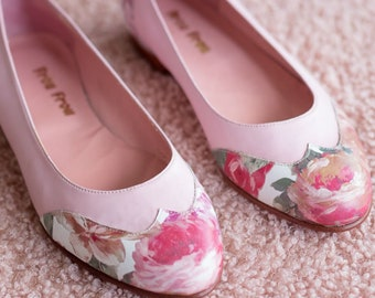 e67af3829 Rose Pink Flower Leather Flat Shoes Frou Frou Handmade - Free Shipping US