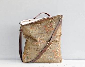 Small Vintage Style Floral Foldover Purse in Sepia, Mint, or Rust, Convertible Crossbody Bag, Converts to Tote, Leather Strap, USA  Made