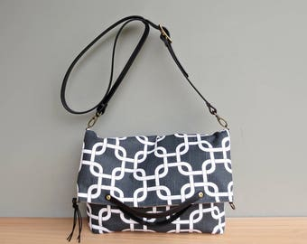 Grey and White Foldover Purse, Charcoal Grey Shoulder Bag with Leather Strap, 2 Sizes, Converts to Tote, Fabric Crossbody Messenger Bag, USA