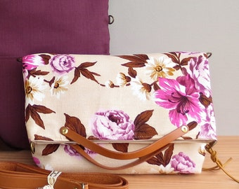 CLEARANCE - Convertible Foldover Shoulder Bag in Purple and Brown Vintage Style Floral Barkcloth With Leather Strap