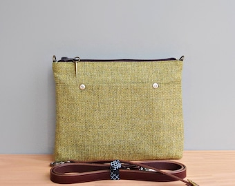Small Crossbody Purse in Apple Green Tweed with Custom Leather Strap, Messenger Bag in Upcycled Fabric, Mid Century Modern Furniture Fabric