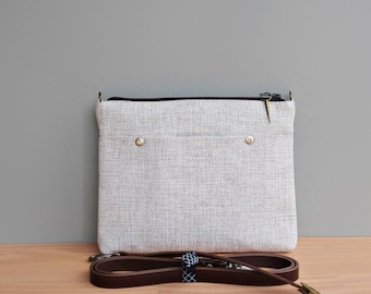 Small Cross Body Bag for Women in Light Taupe Tweed, Urban Commuter Bag with Custom Leather Strap in Upcycled Fabric, Handcrafted in the USA