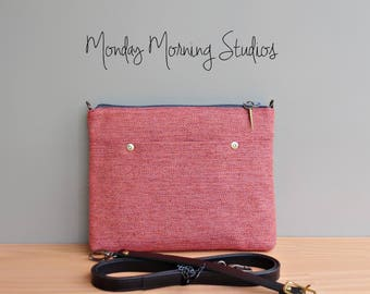 Cross Body Bag Small with Leather Strap in Coral Pink Tweed, Everyday Commuter Purse, Upcycled Fabric Messenger Bag, Handcrafted in the USA