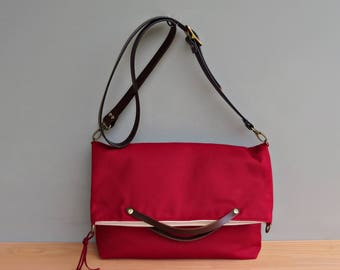 Waxed Canvas Foldover Tote with Custom Leather Strap in Cranberry, Red Waxed Canvas Convertible Messenger Bag, Shoulder Purse, American Made