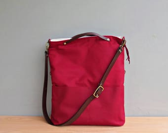 Womens Waxed Canvas Tote in Barn Red, Convertible Messenger Bag with Leather Strap, Nautical Waxed Canvas Bag, Crossbody Purse, Made in USA