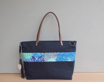 Floral Waxed Canvas Zipper Tote with Leather Straps, Navy Blue Large Travel Shoulder  Bag 8dfa3b425a