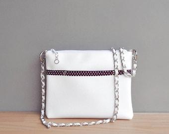 White Summer Purse, Vegan Crossbody Bag with Polka Dot Lining, Faux Leather Shoulder Bag with Custom Silver Chain Strap, Handmade Vinyl Bag
