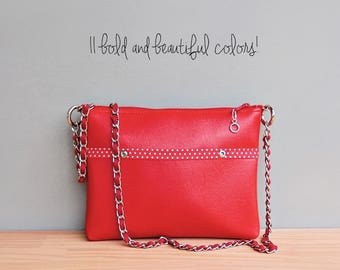 Red Vegan Crossbody Bag, Faux Leather Polka Dot Purse with Custom Length Chain Strap, Vinyl Shoulder Bag with Silver Accents,Made in the USA