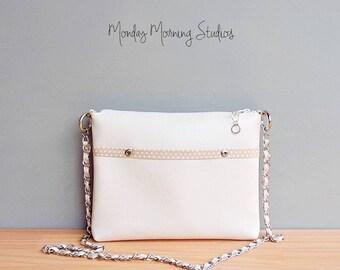 Spring Polka Dot Shoulder Bag in Soft Beige, Creme Vegan Crossbody Bag, Tan Faux Leather Handbag with Silver Chain Strap, Beige Vinyl Purse