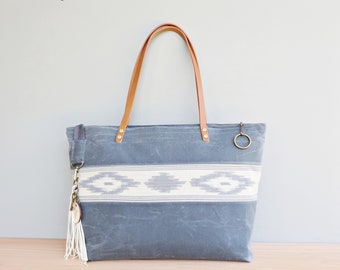 Boho Waxed Canvas Tote with Blue Grey Southwest Aztec Tribal Style Accent  and Leather Shoulder Straps, Large Zipper Tote Bag e515208fbd