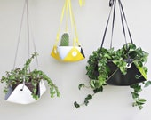 Modern Vinyl Hanging Planter in Bright Reversible Colors, Choose 2 Colors, Size and Length for Easy Decor Updates