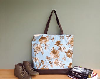 Oversized Floral Tote in Blue and Sepia, Sky Blue Shoulder Tote Bag with  Large Flowers, Extra Large Waxed Canvas Bottom Tote, USA Market Bag bef868975a