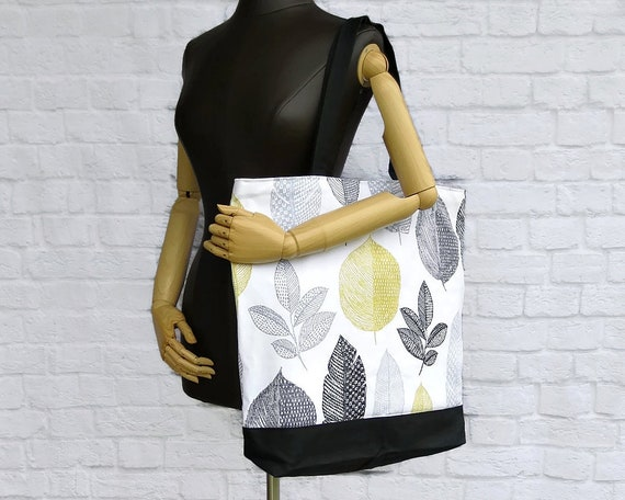 Extra Large Tote in Modern Grey and Yellow Leaves Oversized   Etsy 601bd8ca85