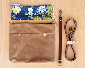 Waxed Canvas Crossbody Bag in Saddle Brown with Vintage Style Floral Lining and Leather Strap