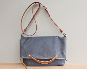 Waxed Canvas Foldover Tote with Custom Leather Strap in Grey, Waxed Canvas Convertible Messenger Bag, Shoulder Bag Purse, Made in the USA