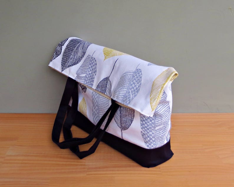 Extra Large Tote in Modern Grey and Yellow Leaves Oversized Shoulder Overnighter Bag with Large Leafy Print and Black Waxed Canvas Bottom